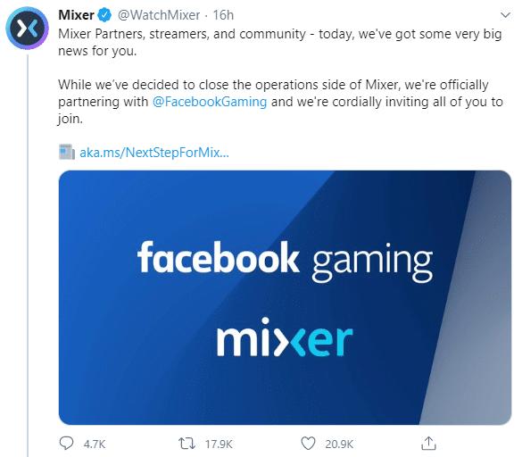 Microsoft shutting down Mixer